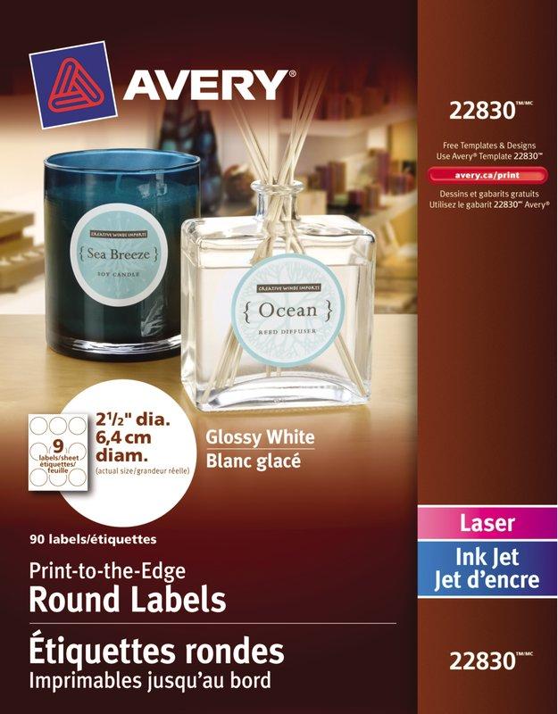 Avery Glossy White Round Labels 22830 2 12 Diameter Print To