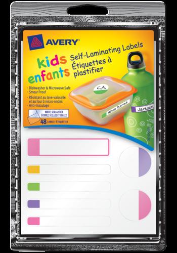 Avery<sup>&reg;</sup> Étiquettes autoplastifiantes pour enfants - Avery<sup>&reg;</sup> Étiquettes autoplastifiantes pour enfants
