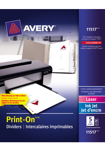 Avery<sup>&reg;</sup> Intercalaires imprimables Print-On<sup>&reg;</sup> pour imprimantes à laser ou jet d'encre - Avery<sup>&reg;</sup> Intercalaires imprimables Print-On<sup>&reg;</sup>