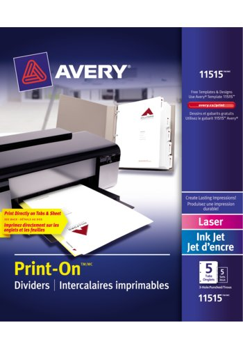 Avery® 11515 - Intercalaires imprimables Print-On® ,  8-1/2in. x 11in., Blanc