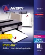 Avery<sup>&reg;</sup> Intercalaires imprimables Print-On<sup>&reg;</sup> pour imprimantes à laser ou jet d'encre 11515