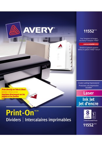 Avery® 11552 - Intercalaires imprimables Print-On®  ,  8-1/2in. x 11in., Blanc