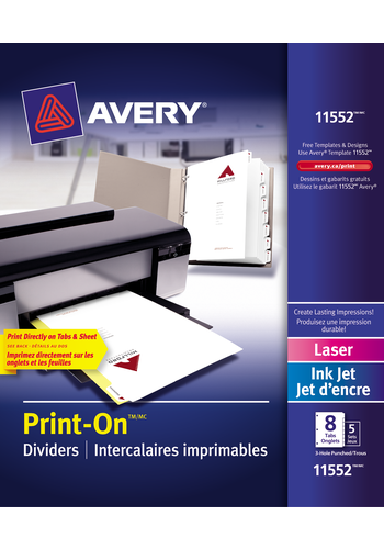 Avery<sup>®</sup> Intercalaires imprimables Print-On<sup>®</sup> pour imprimantes à laser ou jet d'encre - Avery<sup>®</sup> Intercalaires imprimables Print-On<sup>®</sup>