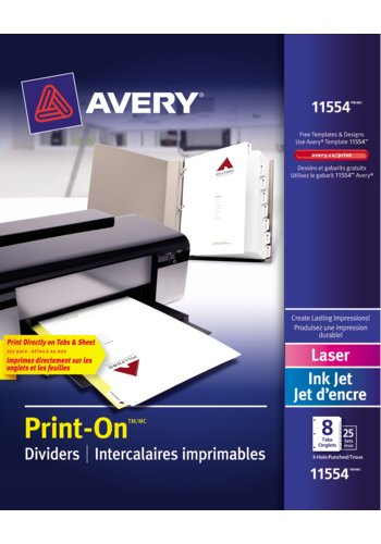 Avery® 11554 - Print-On® Dividers ,  8-1/2in. x 11in., White