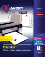 Avery<sup>&reg;</sup> Intercalaires imprimables Print-On<sup>&reg;</sup> pour imprimantes à laser ou jet d'encre 11554