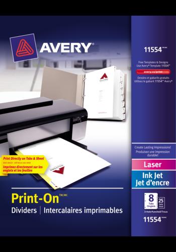 Avery<sup>&reg;</sup> Intercalaires imprimables Print-On<sup>&reg;</sup> pour imprimantes à laser ou jet d'encre - Avery<sup>&reg;</sup> Intercalaires imprimables Print-On<sup>&reg;</sup>