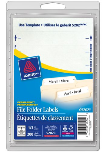 Avery® 05202 - File Folder Labels ,  3-1/2in. x 5/8in., Rectangle, White