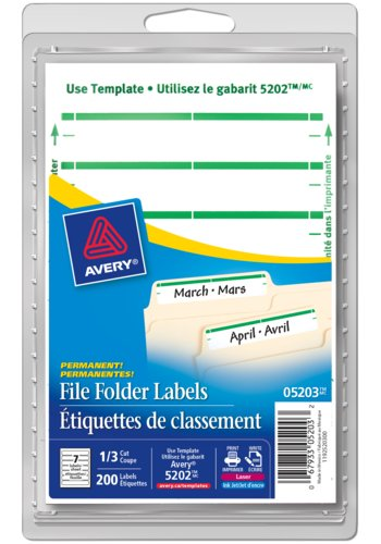 Avery® 05203 - File Folder Labels ,  3-1/2in. x 5/8in., Rectangle, Green