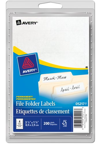 Avery® 05217 - File Folder Labels,  3-1/2in. x 1-1/8in., Rectangle, White