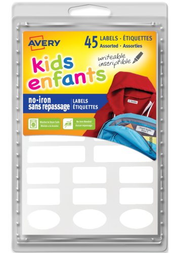 Avery No-Iron Clothing Labels for Kids, 40700, Assorted Sizes & Shapes