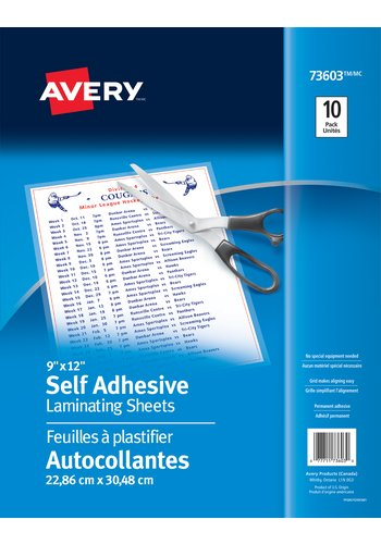 Avery® 73603 - Feuilles à plastifier autocollantes,  9in. x 12in., Transparent