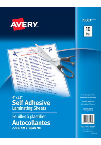 Avery<sup>&reg;</sup> Self Adhesive Laminating Sheets - Avery<sup>&reg;</sup> Self Adhesive Laminating Sheets
