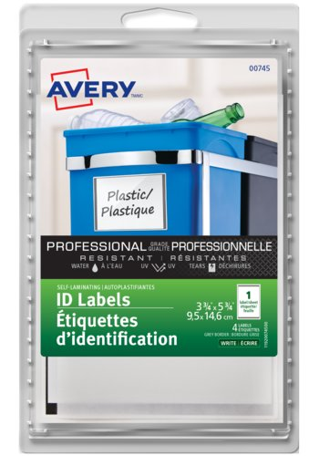Avery® 00745 - Self-Laminating ID Labels,  3-3/4in. x 5-3/4in., Rectangle, Grey Border