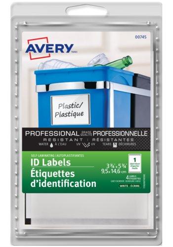 Avery® 00745 - Étiquettes d'identification autoplastifiantes,  3-3/4in. x 5-3/4in., Rectangulaire, Bordure grise