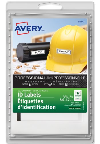 Avery® 00747 - Étiquettes d'identification autoplastifiantes,  3-3/8in. x 2/3in., Rectangulaire, Bordure grise