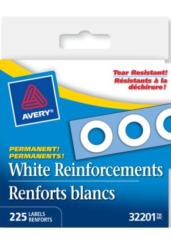 Avery® 32201 - White Self-Adhesive Reinforcement Labels,  1/4in., Round, White