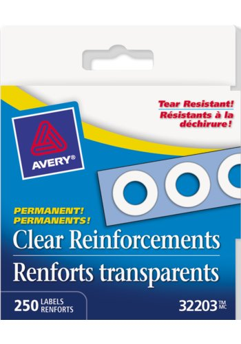 Avery® 32203 - Renforts de trous Autocollants transparents,  1/4in., Rond, Mylar Transparent