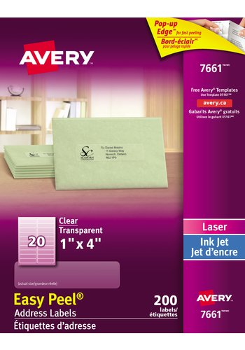 Avery® 7661 - Clear Address Labels ,  1in. x 4in., Rectangle, Glossy Clear