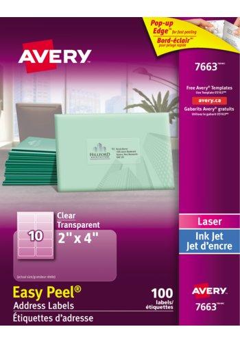 Avery® 07663 - Étiquettes d'adresse transparentes ,  2in. x 4in., Rectangulaire, Transparent Glacé