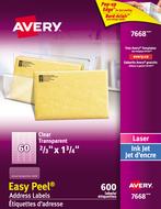 Avery<sup>&reg;</sup> Étiquettes d'adresse transparentes avec Easy Peel<sup>&reg;</sup> pour imprimantes à laser ou jet d'encre 7668