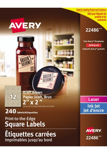 Avery® 22486 - Print-to-the-Edge Square Labels ,  2in. x 2in., Square, Kraft Brown