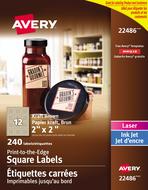 Avery<sup>®</sup> Étiquettes carrées imprimables jusqu'au bord pour imprimantes à laser ou jet d'encre 22486