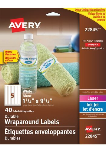 Avery Durable Wraparound Water Bottle Labels, 22845, 9-3/4in. x 1-1/4in., White