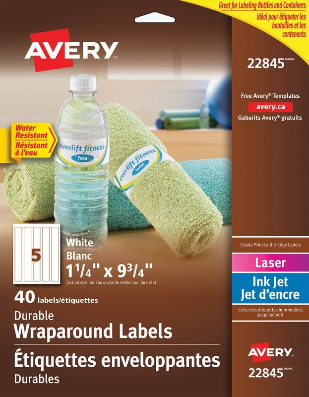 Avery Durable Wraparound Water Bottle Labels 22845 9 34 X 1 14