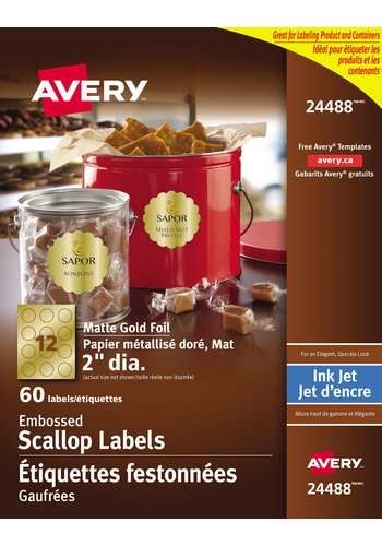 Avery Scalloped Labels, 24488, Matte Embossed, 2in. Diameter, Round, Gold Foil