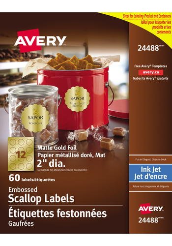Avery<sup>®</sup> Matte Embossed Scalloped Labels - Avery<sup>®</sup> Matte Embossed Scalloped Labels