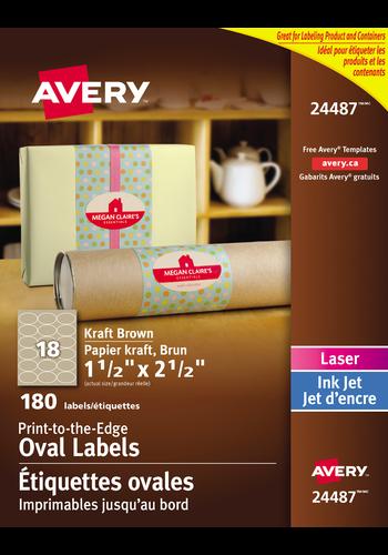 Avery<sup>®</sup> Étiquettes ovales imprimables jusqu'au bord pour imprimantes à laser ou jet d'encre - Avery<sup>®</sup> Étiquettes ovales imprimables jusqu'au bord