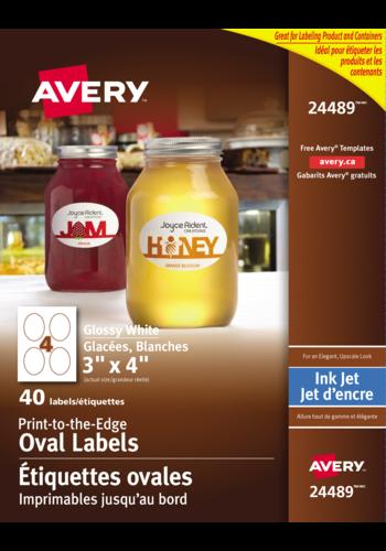 Avery<sup>&reg;</sup> Étiquettes ovales imprimables jusqu'au bord pour imprimantes à jet d'encre - Avery<sup>&reg;</sup> Étiquettes ovales imprimables jusqu'au bord