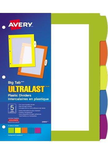 Avery® 24900 - Big Tab(MC)UltraLast(MC) Intercalaires en plastique ,  8-1/2in. x 11in., Multi-couleur