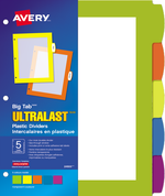 Avery<sup>&reg;</sup> Big Tab<sup>MC</sup>UltraLast<sup>MC</sup> Intercalaires en plastique pour imprimantes à laser ou jet d'encre 24900