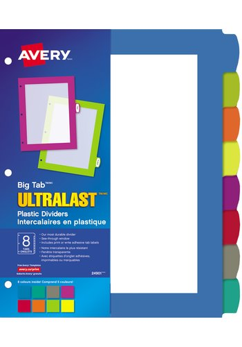 Avery® 24901 - Big Tab™ UltraLast™ Plastic Dividers ,  8-1/2in. x 11in., Multi-colour