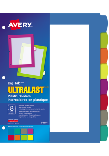 Avery<sup>®</sup> Big Tab<sup>MC</sup>UltraLast<sup>MC</sup> Intercalaires en plastique pour imprimantes à laser ou jet d'encre - Avery<sup>®</sup> Big Tab<sup>MC</sup>UltraLast<sup>MC</sup> Intercalaires en plastique
