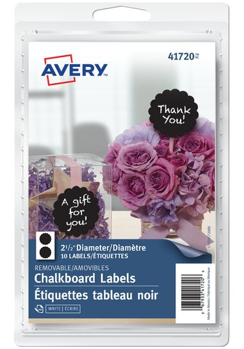 Avery Scalloped Round Chalkboard Labels, 41720 , 2-1/2in. Diameter