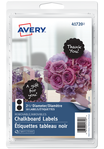 Avery<sup>®</sup> Scalloped Round Chalkboard Labels - Avery<sup>®</sup> Scalloped Round Chalkboard Labels