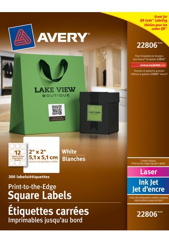 Avery® 22806 - Print-to-the-Edge Square Labels ,  2in. x 2in., Square, White