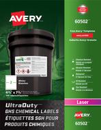 Avery<sup>&reg;</sup> Étiquettes SGH pour produits chimiques UltraDuty<sup>MC</sup> pour imprimantes à laser 60502