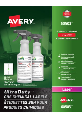 Avery UltraDuty GHS Chemical Labels, 60503, 3-1/2in. x 5in., Rectangle, White