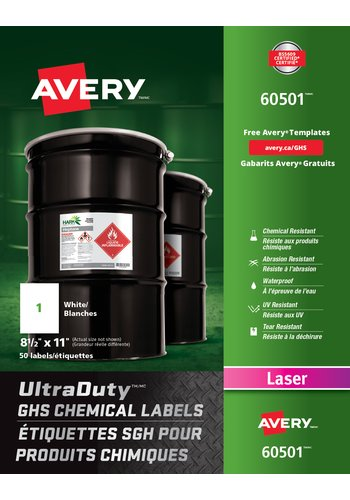 Avery UltraDuty GHS Chemical Labels, 60501, Full Sheet, Rectangle, White