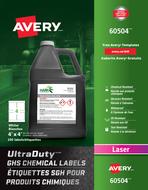 Avery<sup>&reg;</sup> Étiquettes SGH pour produits chimiques UltraDuty<sup>MC</sup> pour imprimantes à laser 60504