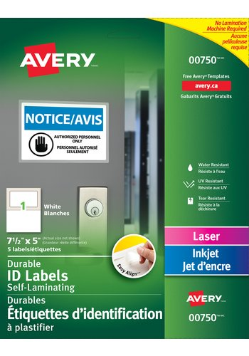Avery® 00750 - Étiquettes d'identification à plastifier Easy Align(MC) ,  7-1/2in. x 5in., Rectangulaire, Blanc