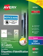 Avery<sup>&reg;</sup> Étiquettes d'identification à plastifier Easy Align<sup>MC</sup> pour imprimantes à laser ou jet d'encre 00750