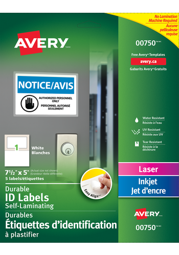 Avery<sup>&reg;</sup> Easy Align&trade; Self-Laminating ID Labels - Avery<sup>&reg;</sup> Easy Align&trade; Self-Laminating ID Labels