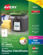Avery<sup>&reg;</sup> Étiquettes d'identification à plastifier Easy Align<sup>MC</sup> pour imprimantes à laser ou jet d'encre 00751