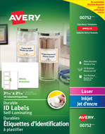 Avery<sup>&reg;</sup> Étiquettes d'identification à plastifier Easy Align<sup>MC</sup> pour imprimantes à laser ou jet d'encre 00752