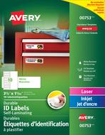 Avery<sup>&reg;</sup> Étiquettes d'identification à plastifier Easy Align<sup>MC</sup> pour imprimantes à laser ou jet d'encre 00753