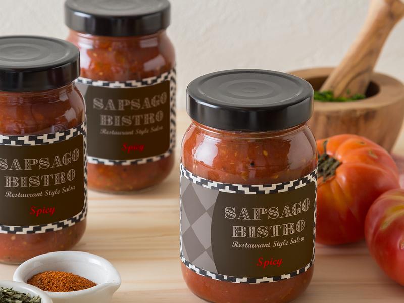 Labelled sauce jars